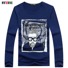 Men's Tops Tees 2016 Autumn new Printed o-neck long sleeve t shirt men fashion trends fitness tshirt free shipping NY66 size 4XL