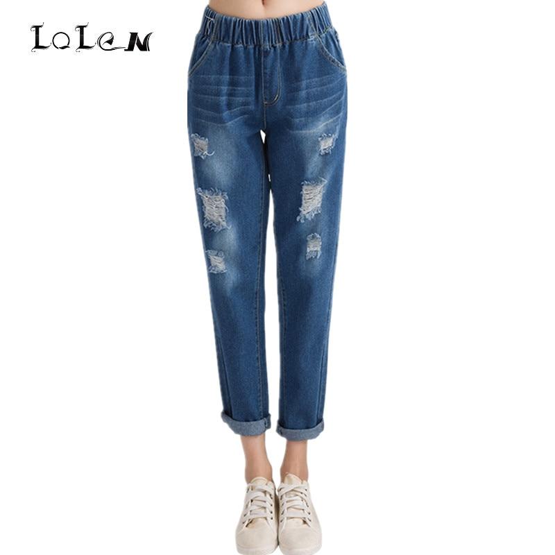 LOLEN Bottoms Elastic Waist Fashion Casual Loose Holes Denim Pants Boyfriend Jeans for Women