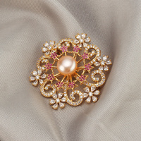 Rhinestone Flower Brooches Women Natural Pearl Brooch Purple Crystal Lapel Pins Jewelry for Female Wedding Scarf Accessories