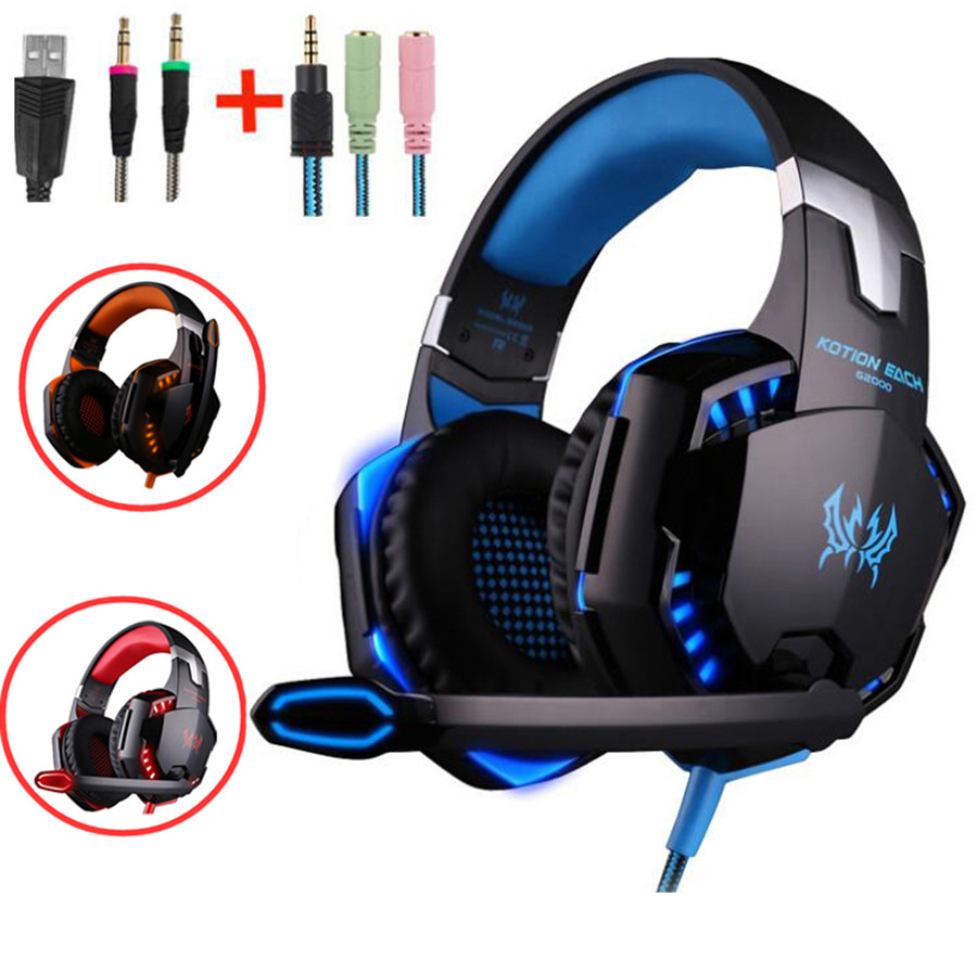Kotion Each G2000 G9000 Gaming Headsets Big Headphones with Light Mic Stereo Earphones Deep Bass for Computer Tablet SP4 X-BOX