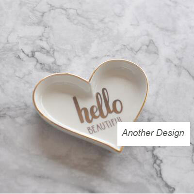 Золотой инкрустацией керамическая посуда для еды пластины ювелирные изделия пластин сердце/цветок/звезда стиль дома декоративные лоток