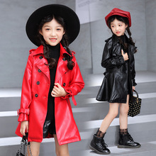 Children's Clothing Girls Faux Leather Jacket Fashion Turn Collar Double Breasted Solid Long PU Leather Coat For Girl 110-160