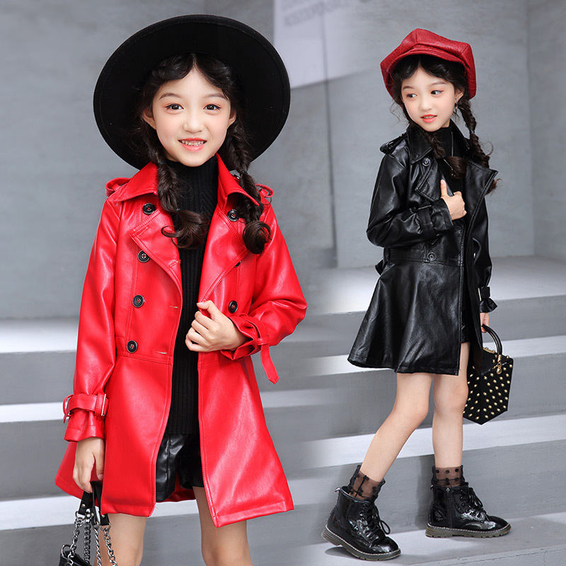Children's Clothing Girls Faux Leather Jacket Fashion Turn Collar Double Breasted Solid Long PU Leather Coat For Girl 110-160 single breasted long sleeve turn down collar jacket
