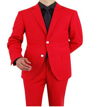 man suit 2 button suit jacket red clothes pants is suitable for the wedding the groom's best man tailored customization