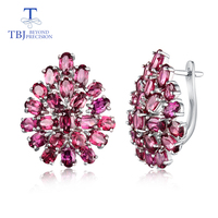 latest style flower shape rhodolite clasp earring 925 sterling silver fine jewelry for dignified,elegant female office workers