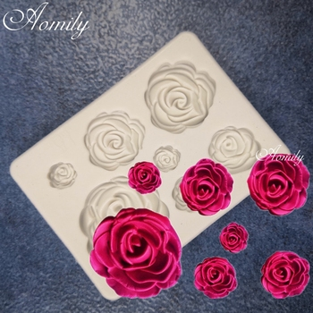 Aomily 7 Holes Rose Shaped 3D Silicon Chocolate Jelly Candy Cake Bakeware Mold DIY Pastry Bar Ice Block Soap Mould Baking Tool