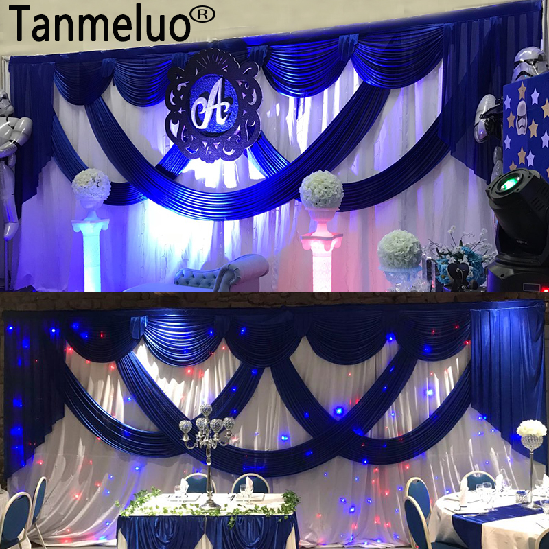 3 6M White Ice Silk Wedding Backdrops with Royal Blue Swag Stage Background Drape and Curtain