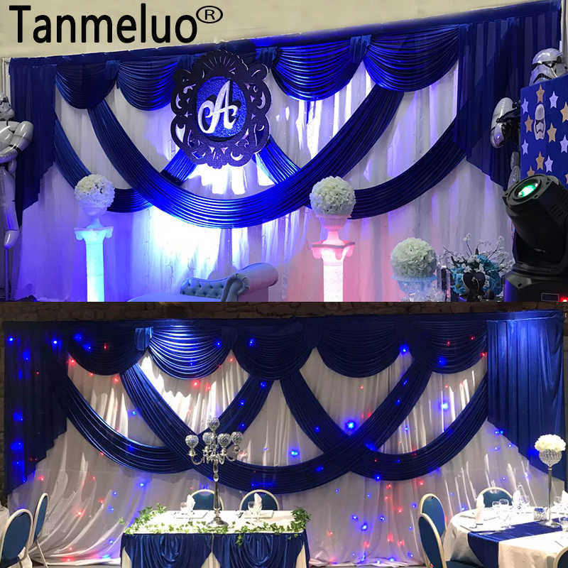 3*6M White Ice Silk Wedding Backdrops with Royal Blue Swag Stage ...