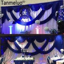 3*6 メートル白アイスシルクウェディング背景とロイヤルブルー盗品ステージ背景ドレープとカーテン結婚式の装飾