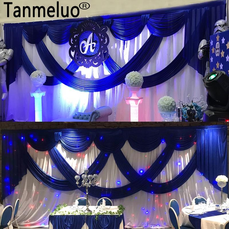 Décors de mariage en soie blanche 3*6 M avec fond de scène bleu Royal et rideau de décoration de mariage