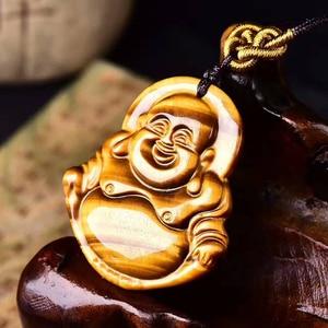 Модные ювелирные изделия натуральные драгоценные камни энергетический камень Смеющийся Будда Кулон Ожерелье Желтый тигровый глаз натурал...