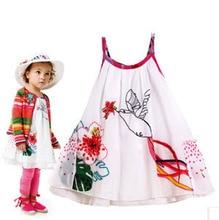 Vente chaude d'été petites filles robe assez floral jarretelles robe mini parti coton robe humming bird broderie swing robe