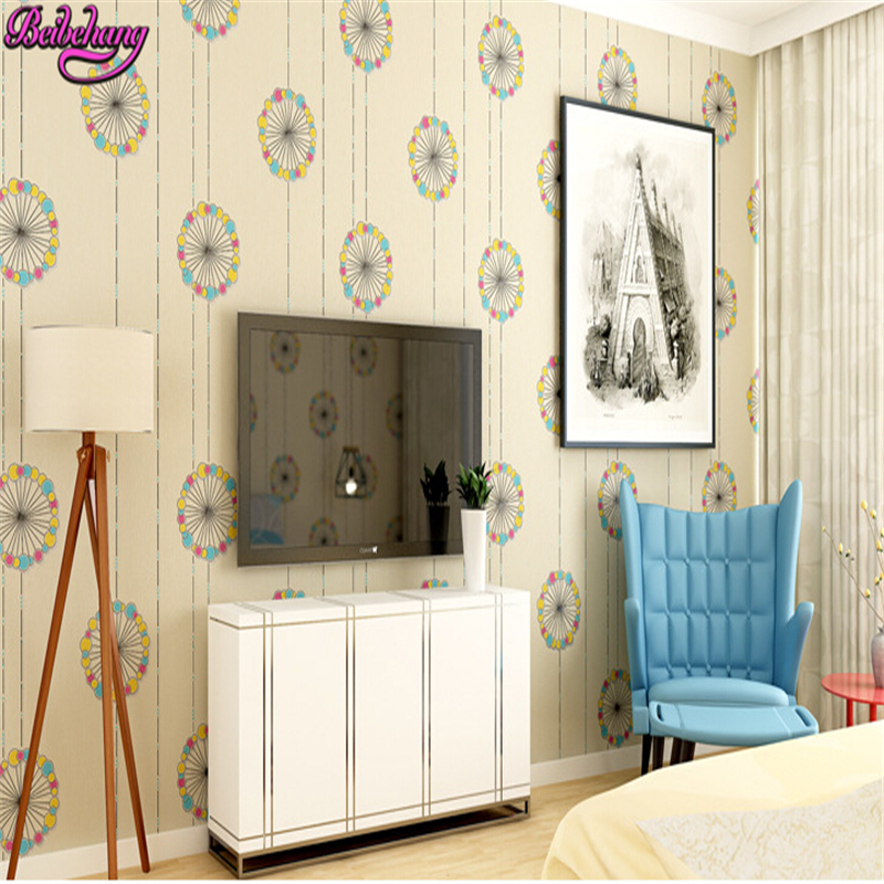 beibehang Safety and health of modern fashion romantic colorful bedroom living room TV background wallpaper papel de parede 3d