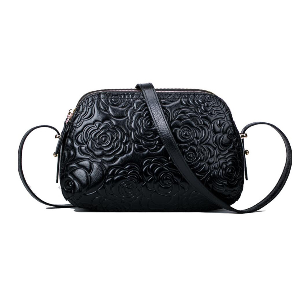 Vintage small crossbody bags for women Genuine leather embossed design Female Fashion Shoulder Bag Ladies Zipper HandBags hahmes 100% genuine leather women saddle bags women fashion shoulder bag female vintage design small shoulder bag 23cm 10849