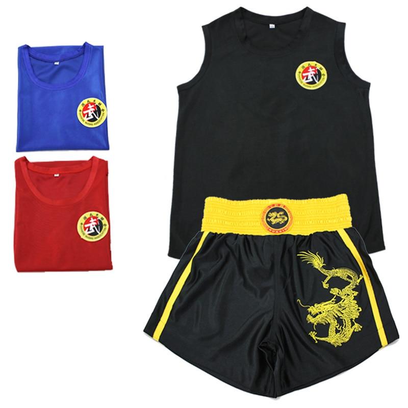 08 Kick Boxing Uniforms Tank+Shorts MMA Muay Thai Boxing Suits Man Sanda Kungfu Wushu Suits Kids Boxing Wushu Clothes