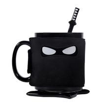 Creative Ninja Mug,Black Mask Ceramic Cup With Spoon Sword Coffee Milk Tea Mugs