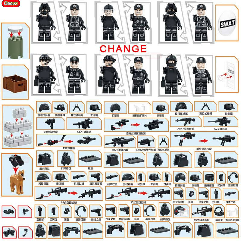 Oenux Newest SWAT City Policeman Mini Dolls Building Block Set Modern Military Armed Forces Soldiers Brick Toy For Kids Gift mtele 6729 toy building blocks minifigures gift for kids policeman swat and helicopter building bricks kit assemble set