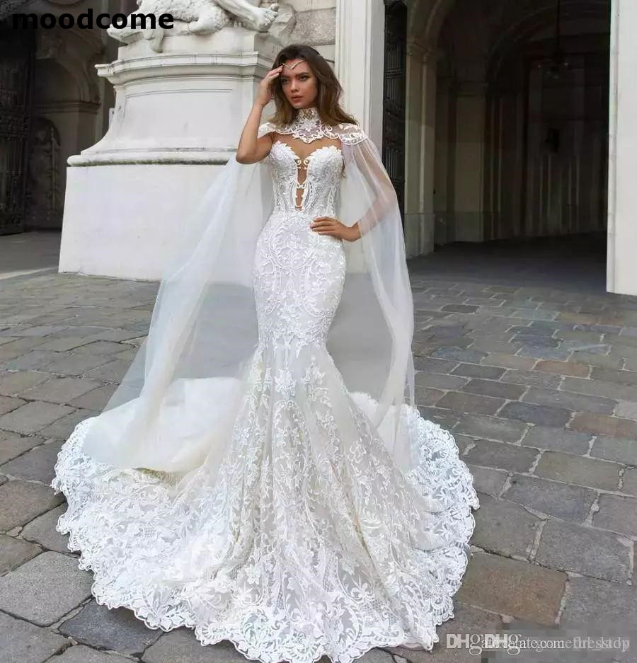 6ea687c1e69 2019 Mermaid Wedding Dresses Sheer Neck Lace Bridal Gowns With Cape vestido  de novia Boho Plus Size Wedding Dress -in Wedding Dresses from Weddings    Events ...