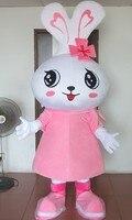 Хит продаж 2017 стиль одежды большой головой розовый кролик Маскоты костюмы мультфильм куклы Животные Бесплатная доставка