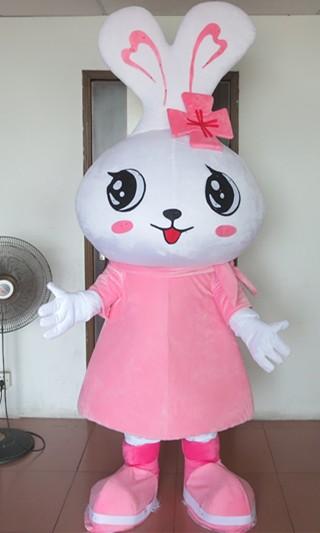 Hot Selling 2017 Style Garment Big Head Pink Rabbit Mascot Costumes Cartoon Doll Animals Free Shipping