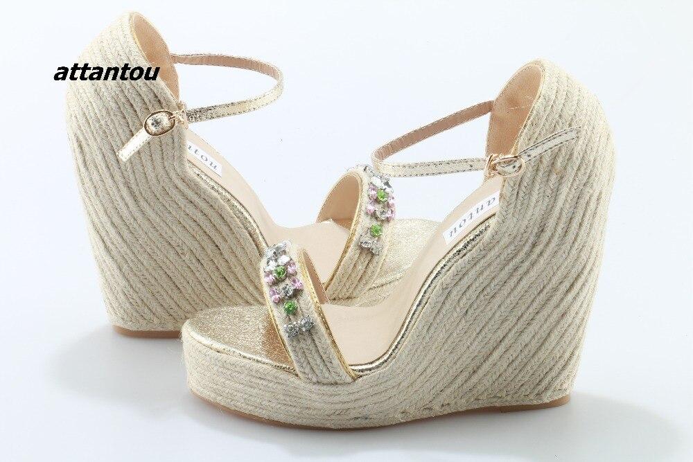 Модные плетеные сандалии с пряжками; стильная цветная кристальная палочка расклешенное платье; босоножки; модная обувь на платформе - 5