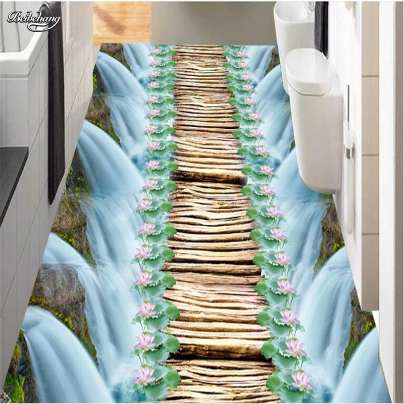 Us 180 40 Offbeibehang Custom Large Mural Waterfall Lotus Pond Wooden Bridge Bathroom 3d Floor To Paste Thick Waterproof Pvc Wearable Film In