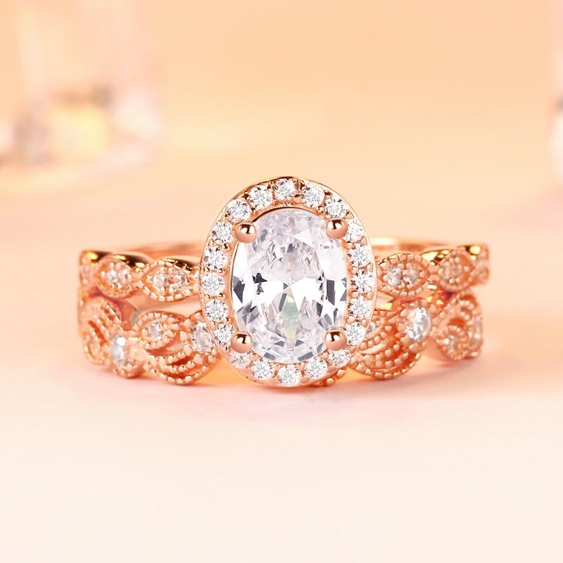 Romantique rose or ovale coupe claire 1.0ct CZ dentelle cadre Style Vintage bagues de fiançailles ensemble de mariée anneaux bijoux