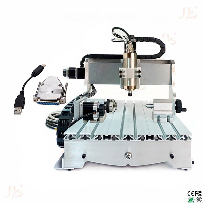 CNC Drilling and Milling Machine 4030Z-S800 4axis Mini CNC Wood Router with usb adpter cnc 5axis a aixs rotary axis t chuck type for cnc router cnc milling machine best quality