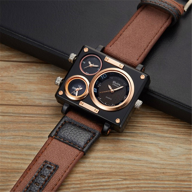 a9d92d9dbac 2018 OULM 3595 Mens Watches Top Brand Multiple Time Zone Fashion Canvas  Strap Casual Quartz Watch