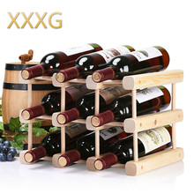 XXXG//whisky bar solid diy wood wine rack frame decoration display assembly Wine creative home minimalist Beer bottle Wine shelf simple solid wood wine frame wooden red wine rack creative wine frame hanger glass cup rack hanging cup frame wx6291103