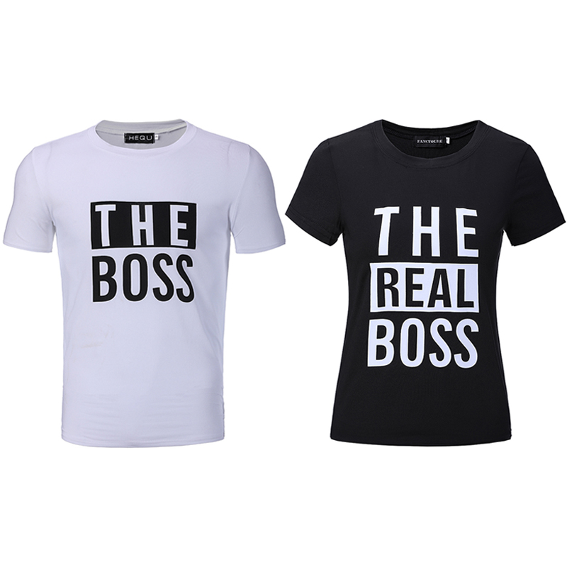 Husband and Wife Tees Love Couple Top Tee Funny Print women s tee shirts  The Boss The Real Boss Funny Couple Matching T-shirts – Urban Pin up 246f672ff6