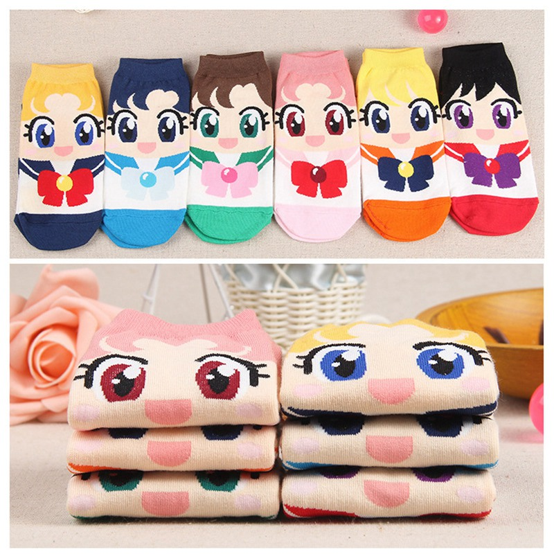 Sexy Anime Sailor Moon Cute Cartoon Socks Sailor Moon Cosplay Costume <font><b>Lolita</b></font> Cartoon Socks New Fashion Girls Womens Cotton Socks image