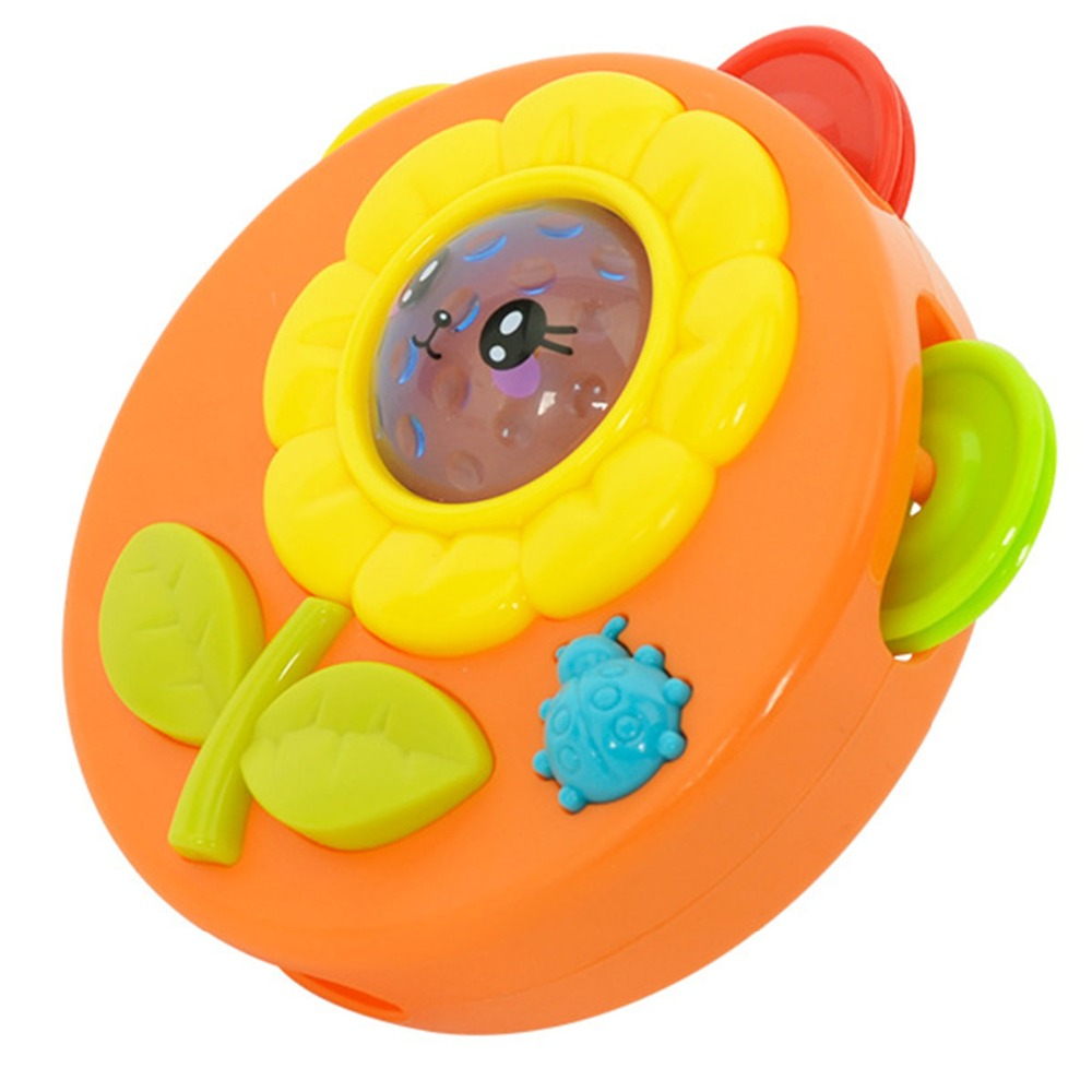 Daddy Chen Kawaii 1PC LED Colorful Flashing Music Drum Creative Rattles LED Education Toys Baby For Newborn Color Random