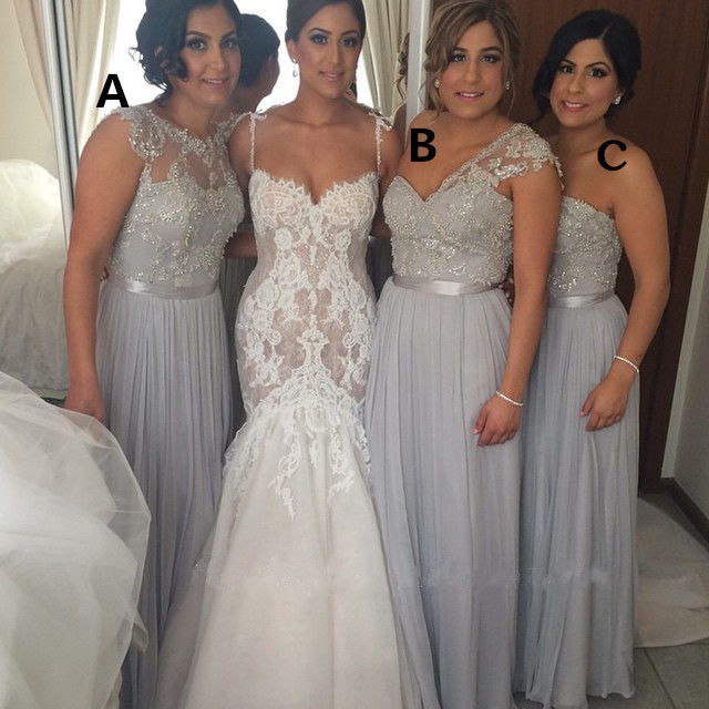 New Fashion Custom Made Full Length Silver Long Chiffon One Shoulder   Bridesmaid     Dresses   2016 Beading Wedding Party   Dresses