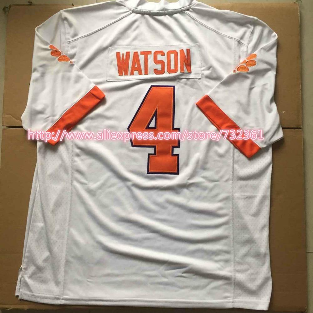 2015 Stitched 4# Deshaun Watson Jersey Clemson Tigers Jerseys Orange White Purple College Football Jerseys For Men Women Kids