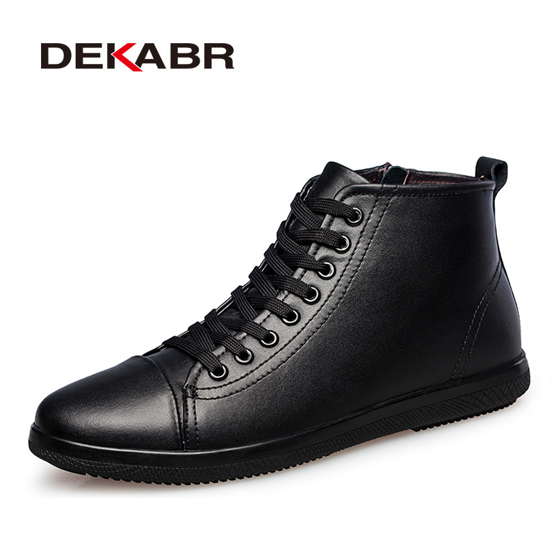 DEKABR Brand Men Boots Plus Size 37~47 Genuine Leather Ankle Boots Lace-Up Casual High Quality Men Shoes Winter Autumn Boots Men new high quality casual boots men leather flats lace up men ankle boots winter autumn men s shoes casual short boots fashion