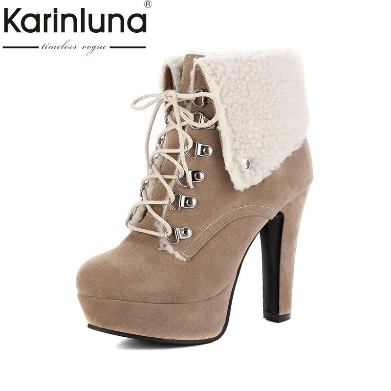 d2f098b30c58 KARINLUNA 2018 Large Size 34-43 Vintage Warm Fur High Heels Ankle Boots  Woman Fashion