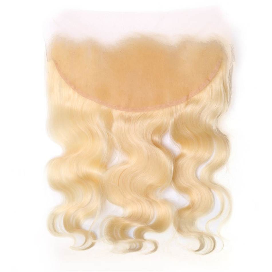MIHAIR Remy Peruvian Straight Hair Blonde Color Lace Front Human Hair 613 13x4 Frontal free part Peruvian Hair Natural Color image