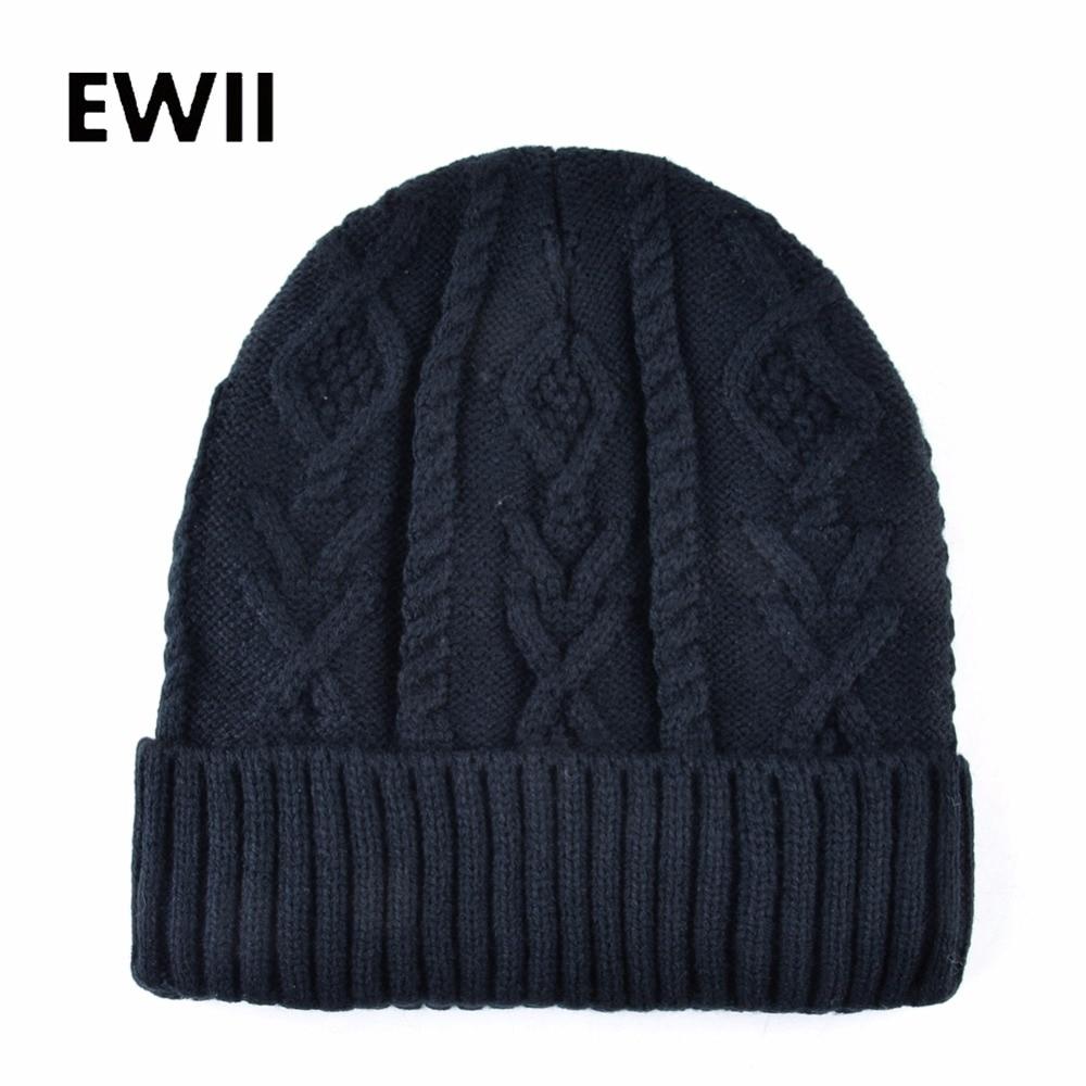 2017 Casual   beanies   for men winter cap adult knitted crochet hat   skullies   men   beanie   hats adult knitting wool caps gorros