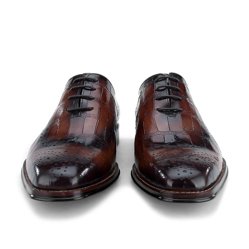 Desai Relevo Bezerro Medida De Sapatos Couro Brown 100 Handmade Genuíno Black coffee Quadrado Pé Sob Dedo Flats Laçar Do Homens Oxford Sapato Crocodilo Em A8ZrvqA