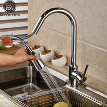 Хромированная отделка вытащить опрыскиватель голову Кухня Раковина кран одной ручкой смесители кухне кран, краны