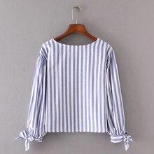 Bella Philosophy 2017 Autumn Blouse Shirt Women Floarl Embroidery Stripe Bow Blouse Female Casual Long Sleeve O-Neck Tops
