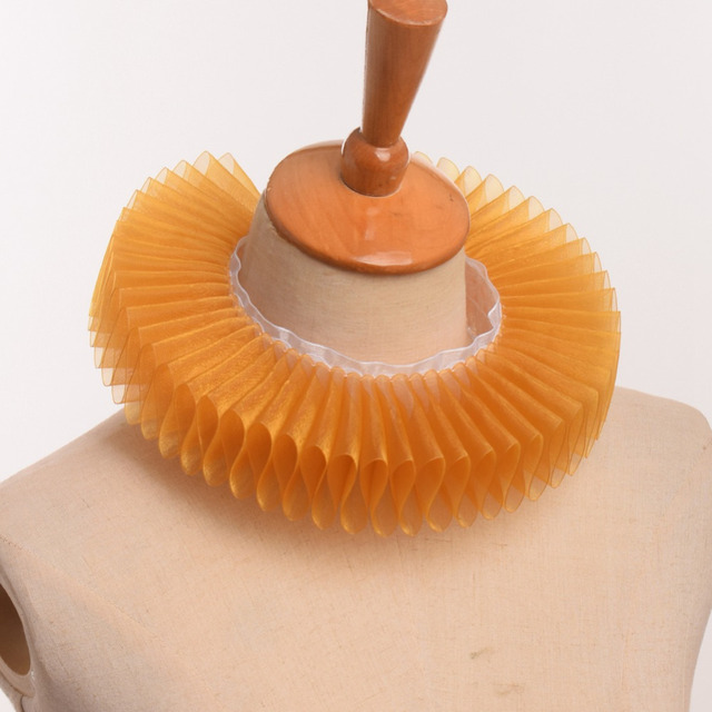 Unisex Vintage Collar Women Men Noble Copslay Victorian Period Accessory Gauze Ruffled Neck Ruff