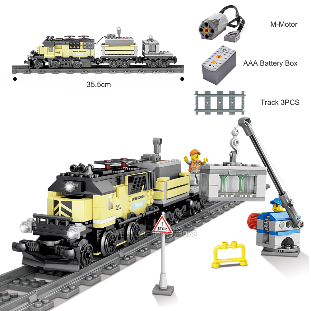 Fit Oolegoee Technic Train Maersk Train Battery Electric Power Motor Mini Figures Educational Building Blocks Toys For Children