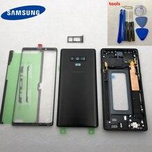 Orijinal note9 Tam Konut Case Orta Çerçeve arka kapak + Ön Cam Yedek Parçalar Samsung Galaxy NOT 9 Için N960 N960F