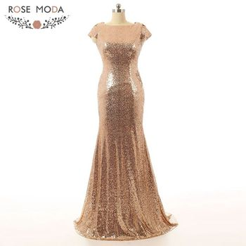 Real Photo Champagne Gold Silver High Neck Short Sleeve Sheath Shinning Bling Sequined Lace Bridesmaid Dress REM-001