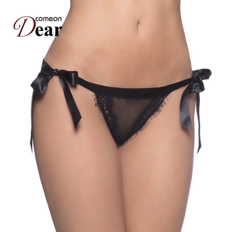 Buy Comeondear Women Panties Plus Size 3XL Thongs G Strings Fancy Tangas Sexy Lace-up Culotte Femme Transparent Underwear PP5133
