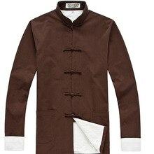 Мужская куртка Кунг-фу, чистый хлопок, костюм Тан, куртки с длинными рукавами, китайский костюм, грубая ткань, пальто