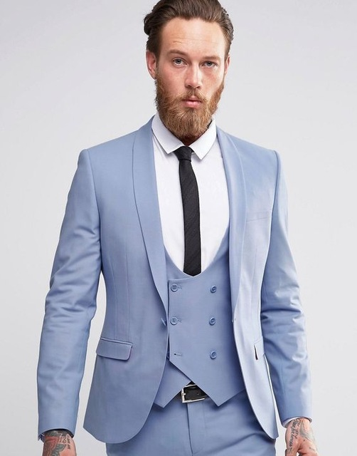 7bbcb4b7a9 Fashion Designs Light Blue Shawl Lapel Men Suit Morning Style Groomsmen Best  Man Dinner Party Wear