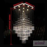 Высокое качество светодиодный K9Crystal люстры квадратный подвесной светильник светильники AC 100 240 V ясно K9 кристалл